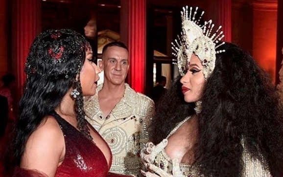 Nicki Minaj and Cardi B Seen Talking at the Met Gala Red Carpet